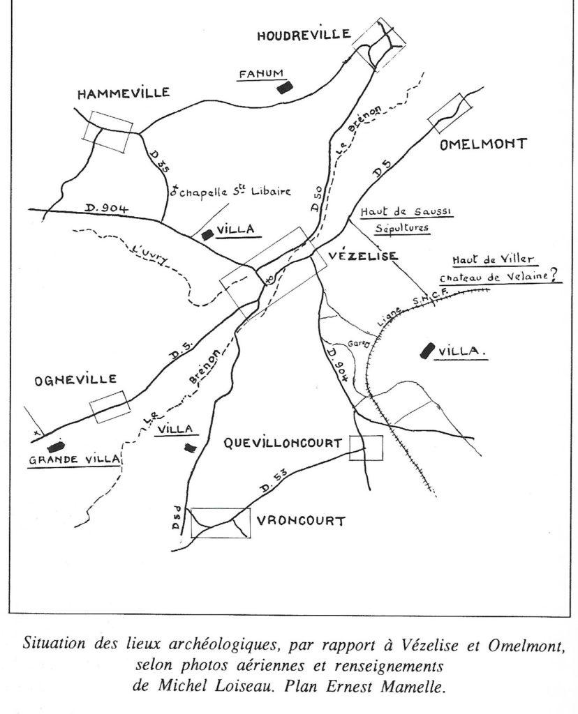 Situation des lieux archéologiques autour de Vézelise