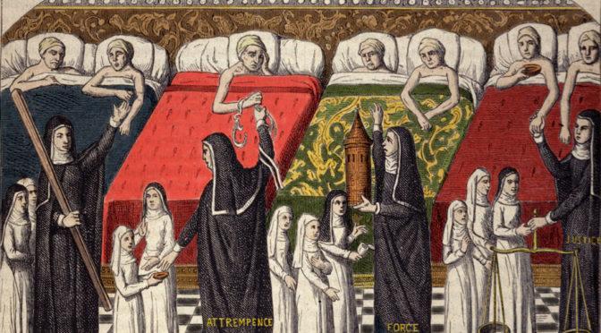 Enluminure extraite du Livre de vie active de l'Hôtel-Dieu de Paris de Jehan Henry, vers 1482-1483
