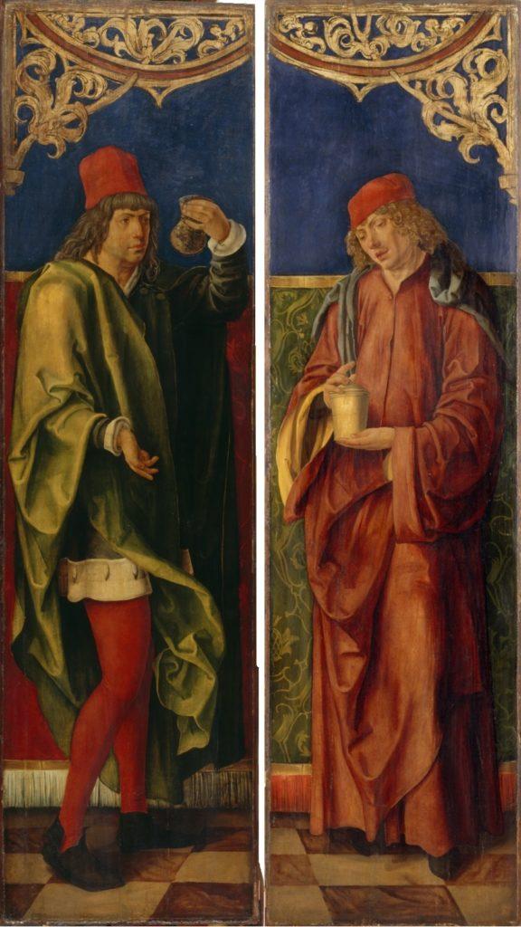 Les Saints Côme et Damien avec les attributs de leur profession par Hans Süss.
